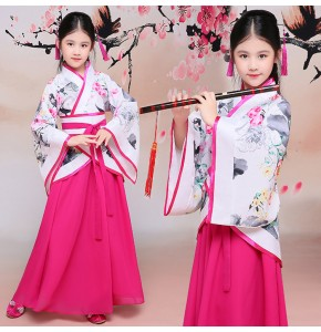 Kids stage performance ancient fairy dancing robes for girls pink hanfu traditional princess Japanese Korean kimono clothes