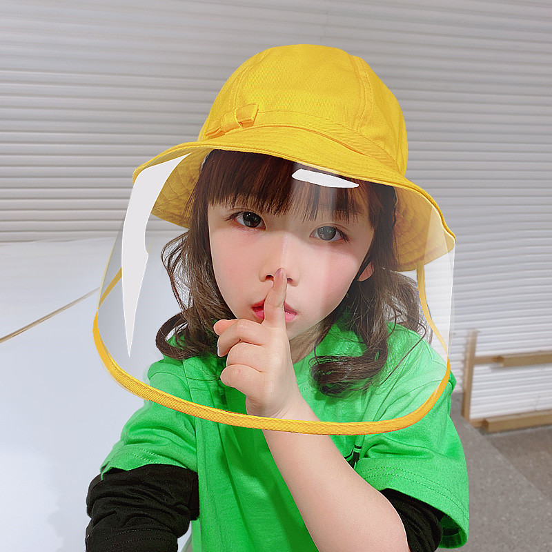 Kids yellow fisherman's cap with face shield antivirus spray saliva direct splash protective hat for boy and girls