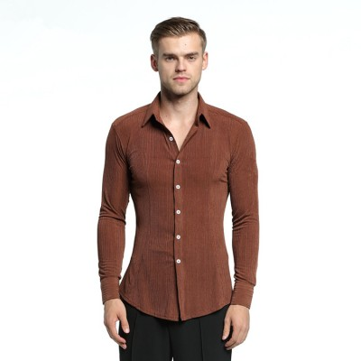 Latin ballroom shirts for men male brown long sleeves competition performance professional waltz tango chacha dancing tops