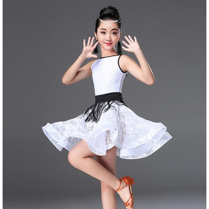 Fashion Latin Dance Dancewear Girls Dance Costume White Black