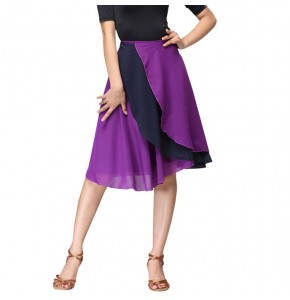 Latin dance skirt for women girls competition purple  stage performance salsa rumba hip scarf skirt