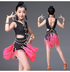 Latin dresses for girls children black and pink diamond beaded competition salsa latin rumba chacha fringes dresses