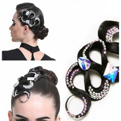 Latin tango waltz competition dancing hair accessories genuine hair wig with rhinestone headdress