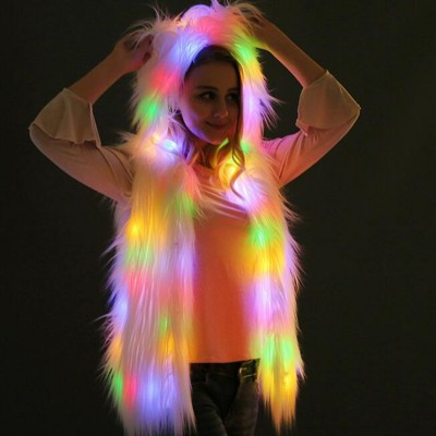 LED Lights Hooded Faux Fur Vest Anime drama cosplay Coat Jacket Halloween Christmas Party jazz dance Stage performance vests