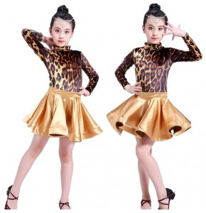 Leopard printed latin dresses  for children kids girls competition stage performance professional ballroom salsa chacha dancing costumes