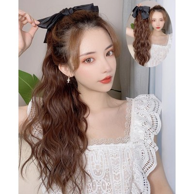 light brown photos shooting Bow tie ponytail wig for women girls female long curly hair bandage wig with fluffy and natural tail