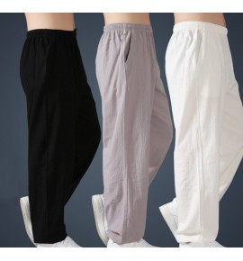 Linen summer tai chi pants men and women martial arts tai chi boxing practice pants kung fu martial arts pants