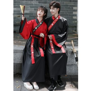 Martial Arts chinese Hanfu Female men Black red swordsman warrior prince cosplay robes Waist Skirt Student Ancient photos shooting Ancient Costume