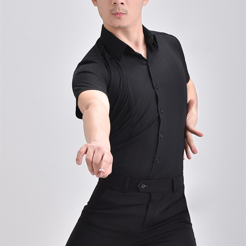 Men black white latin ballroom dance shirts short long sleeves jive tango flamenco chacha dance tops for male