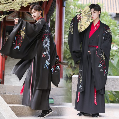 Men chinese Hanfu ancient swordsman warrior cosplay costume water sleeves knight Chinese style martial arts prince performance robes