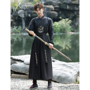 men Chinese hanfu knight scholar costumes swordsman cosplay robe graduation photo clothes ancient Tang suit stage film drama costumes