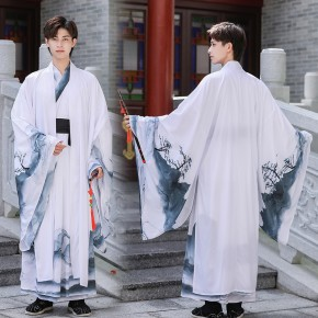 Men chinese Ink style Hanfu male stage performance photos shooting warrior swordsman cosplay robe Chinese ancient boys fairy prince suit