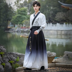 Mene white black gradient chinese Hanfu male fairy sowordsman warrior cosplay costumes ancient photos costume handsome retro scholar student robes