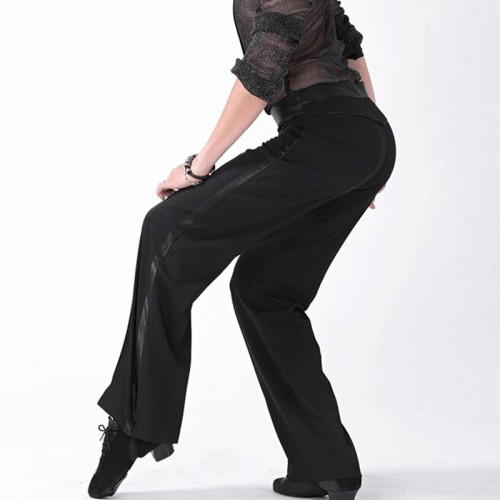 Men's black latin ballroom dance pants side with ribbon tango waltz exercises competition performance dance trousers