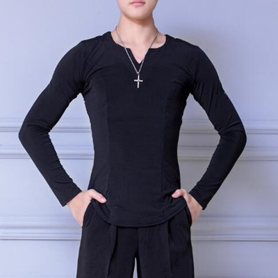 Men's black latin ballroom dance tops for male stage performance practice professional dance shirts