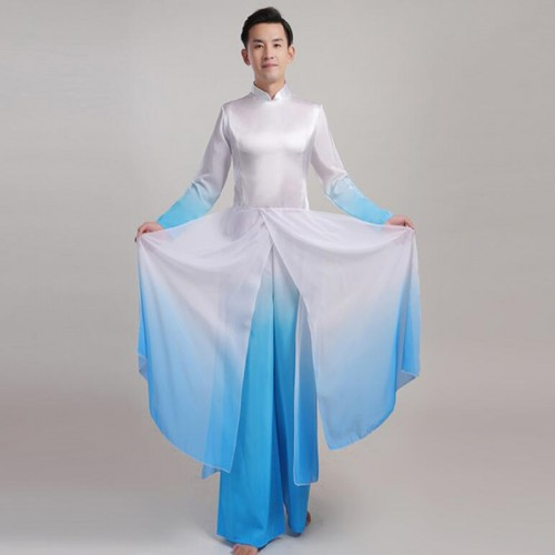 Men's blue white grdient colored chinese hanfu traditional warrior drama cosplay knight robes dresses costumes