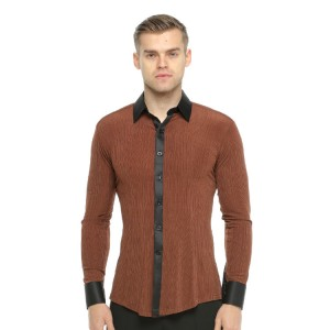 Men's brown latin shirts ballroom competition stage performance salsa chacha rumba dancing tops