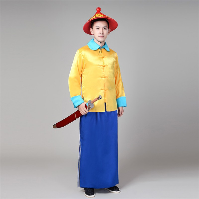 Men's Chinese ancient Qing dynasty guard  cosplay costumes photography stage performance ancient official uniforms