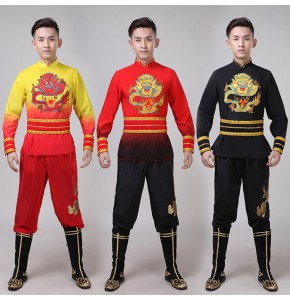 Men's Chinese drummer dragon lion folk dance costumes male red black gold stage performance clothes