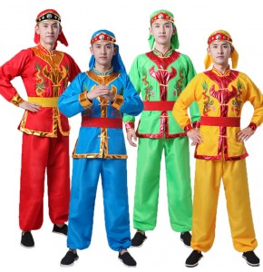 Men's Chinese folk dance costumes ancient traditional dragon drummer square dance costumes dancewear
