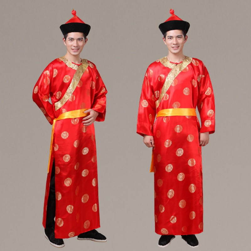 Men's Chinese folk dance costumes china ancient qing dynasty drama  wedding bridegroom cosplay robes costumes