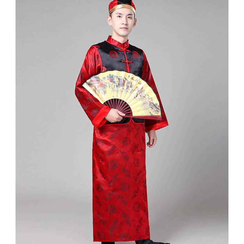Men's Chinese folk dance costumes china tang suit ancient traditional drama qing dynasty emperor princess cosplay robes costumes