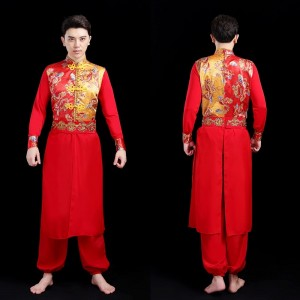 Men's chinese folk dance costumes dragon drummer stage performance clothes chinese yangko traditional dance for male