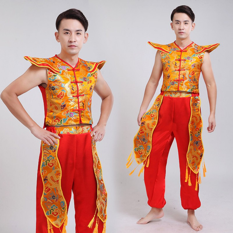 Men's Chinese folk dance costumes dragon traditional yangge drummer stage performance costumes tops and pants
