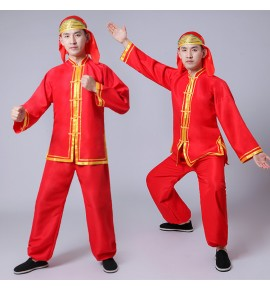 Men's Chinese folk dance costumes female red gold dragon drummer lion cosplay dance stage performance outfits tops and pants