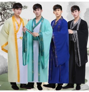 Men's Chinese folk dance costumes for male hanfu warrior swordsmen ancient traditional  drama cosplay robes dresses