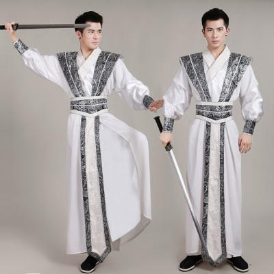 Men's Chinese folk dance costumes hanfu for male competition stage performance swordsman drama photos cosplay robes dresses
