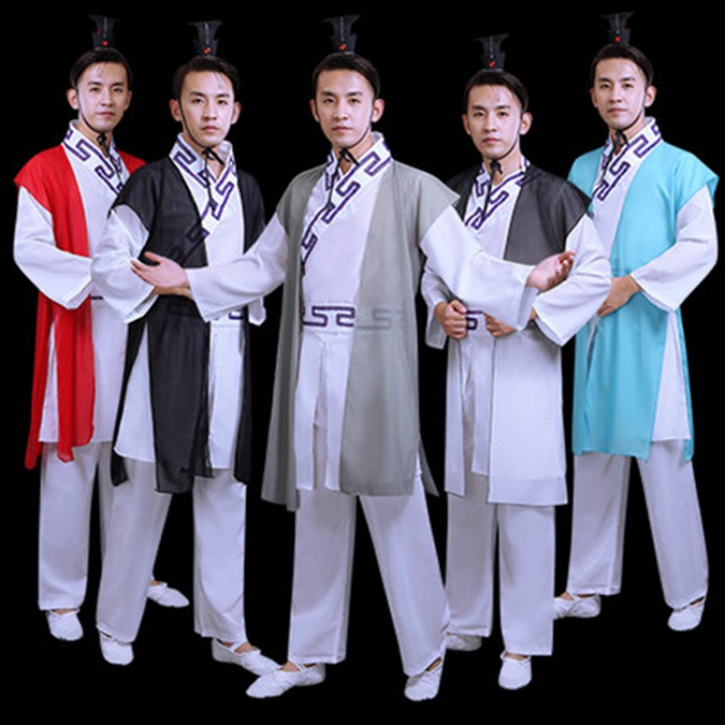 Men's chinese folk dance costumes hanfu gradient colored warrior traditional  taichi martial kungfu stage performance costumes robes