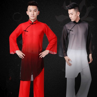 Men's  Chinese folk dance costumes red black gradient ancient traditional drummer yangko martial performance clothes