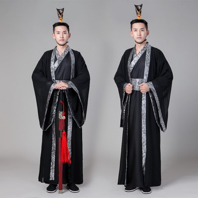 Men's Chinese folk dance costumes robes hanfu for ancient traditional kimono warrior drama photos cosplay performance dresses