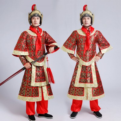 men's Chinese folk dance costumes  warrior swordsmen Han Dynasty ancient generals uniform three countries Tang Dynasty costumes