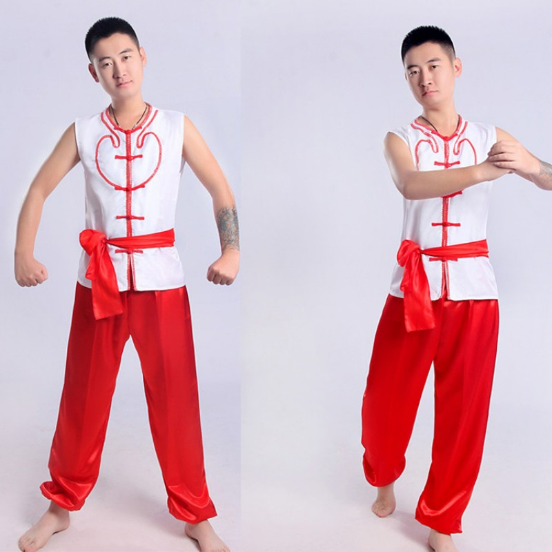 Men's Chinese folk dance costumes yangko dragon boat cosplay costumes stage performance costumes