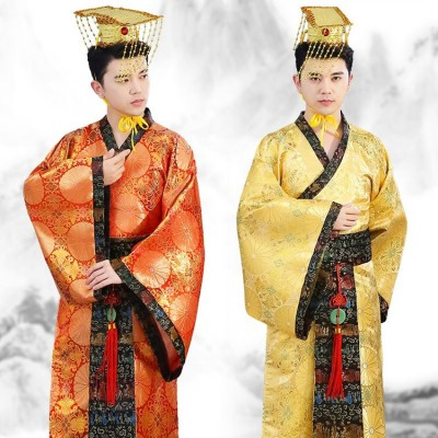 Men's Chinese folk dance dresses for male ancient traditional stage performance hanfu drama photos emperor cosplay robes