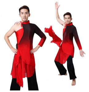 Men's Chinese folk dancing costumes ancient traditional classical black with red gradient colored yangko warrior swordsmen cosplay robes