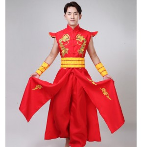 Men's chinese folk dragon lion dance costumes male china style red colored stage performance drummer dance clothes dresses