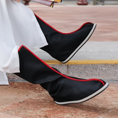Men's hanfu boots chinese ancient official boots swordsman knight drama film cosplay boots shoes