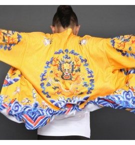 Men's  hanfu tops Chinese  folk dance dragon tops china style emperor cosplay dragon robe coats