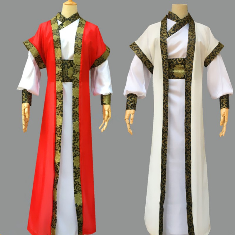 Men's hanfu traditional chinese folk dance costumes warrior swordsmen drama cosplay robes costumes clothes