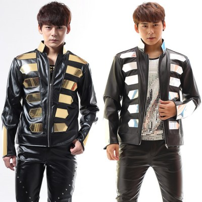 Men's jazz dance jacket hiphop male punk rock rap leather stage performance hiphop night club dj drummer singers motorcycle competition coat