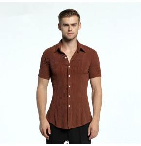 Men's latin shirts competition brown stage performance professional tango waltz dancing tops