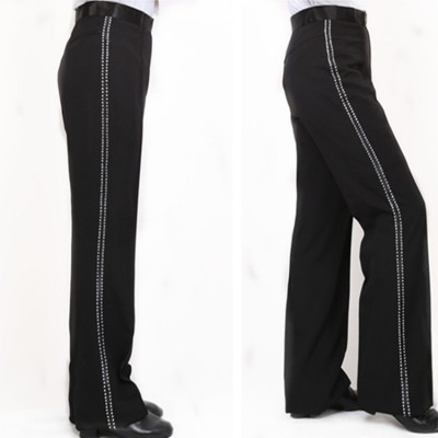 Men's male boy latin ballroom dance pants side with rhinestones  trousers competition stage performance rumba samba long trousers