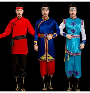 Men's Mongolian dance costumes Chinese folk dance costumes ancient traditional drma performance cosplay robes dresses