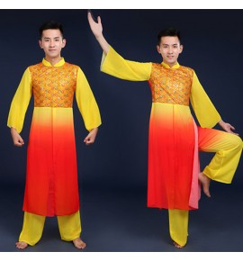 Men's  red with yellow chinese folk dance costumes chinese style dragon drummer stage performance costumes yangko performance clothes