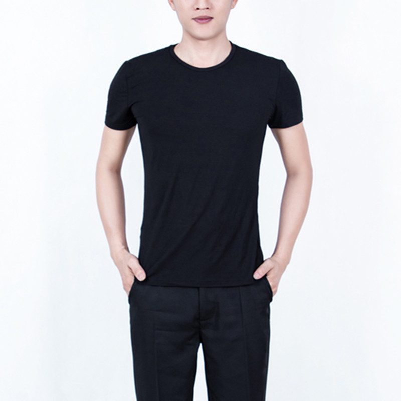 Men's short sleeves black latin dance tops for male competition stage performance exercises dance shirts