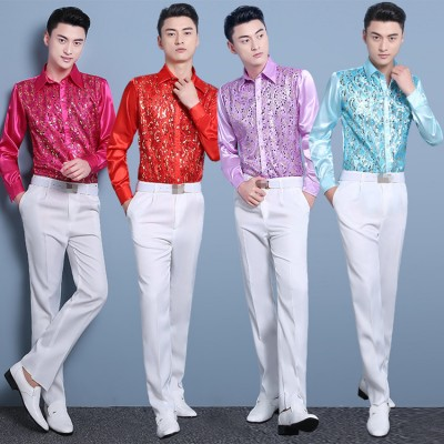 Men's singers host jazz stage performance shirts pink gold white blue modern dance paillette satin photography shirts for male