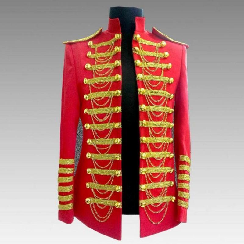 Men's singers jazz dance coats  red dj ds host chorus punk rock England style stage performance coats jackets
